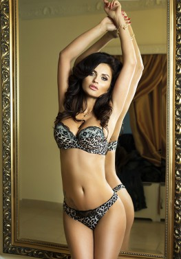 Sexy brunette woman in elegant lingerie.